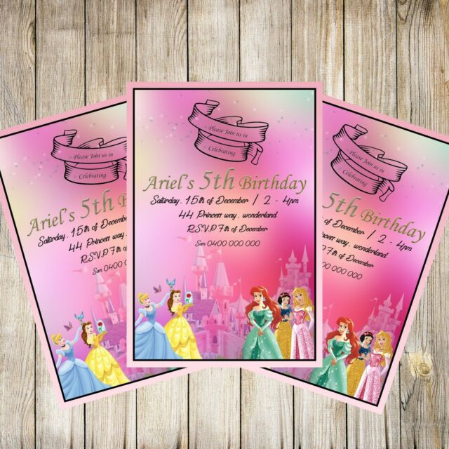 Personalised Disney Princess Birthday Invitations Princesses Party