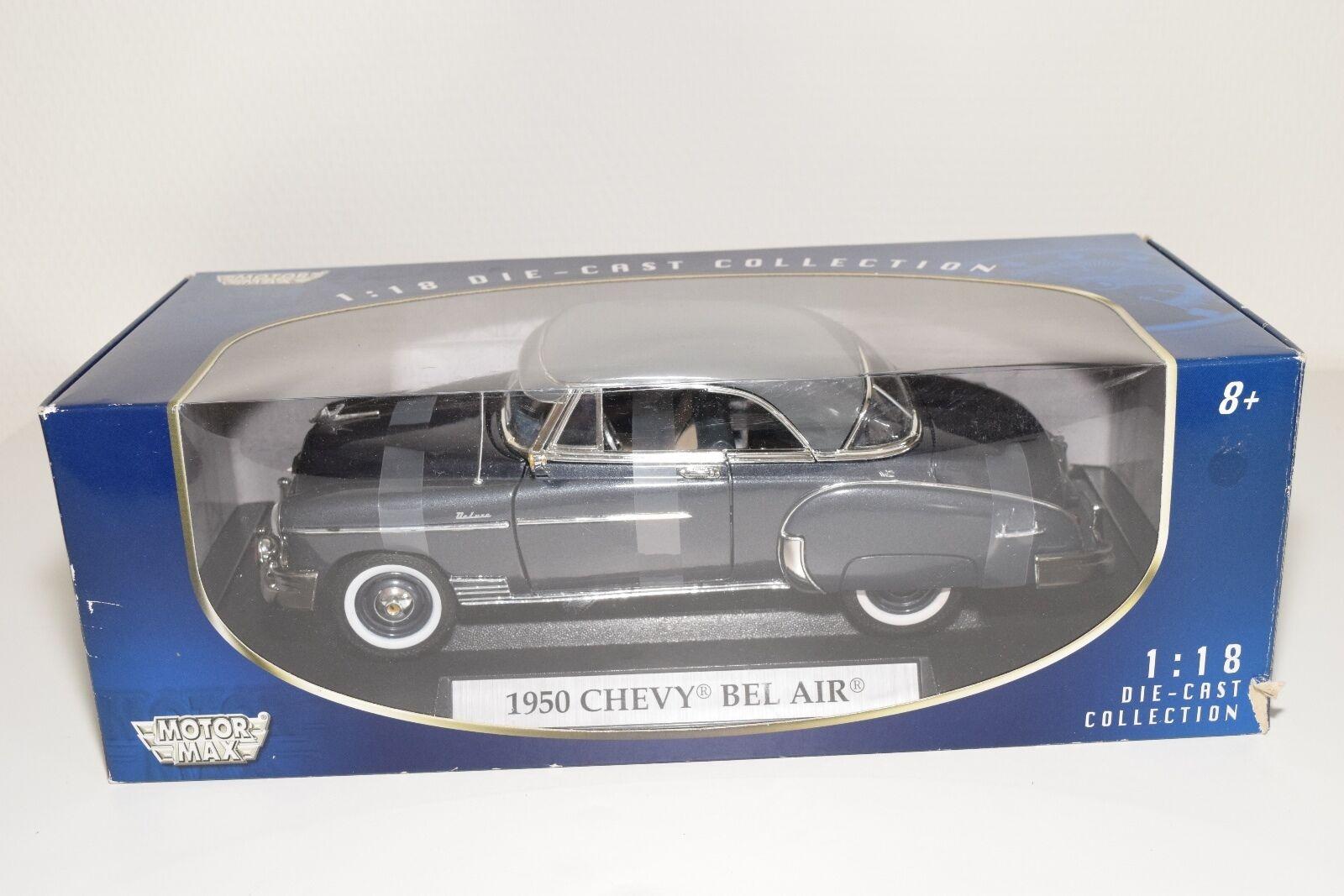 MOTOR MAX MOTORMAX CHEVY CHEVROLET BEL AIR 1950 MET. grigio MINT scatolaED RARE
