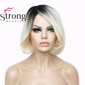 Ombre Bob Short Hair Platinum Blonde Dark Roots Synthetic Natural