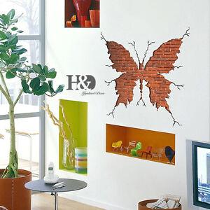 3d broken wall butterfly removable mural art vinyl decal for Broken wall mural