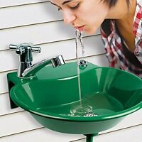 2 In 1 Outdoor Water Fountain & Faucet For Washing Hands After Gardening Green