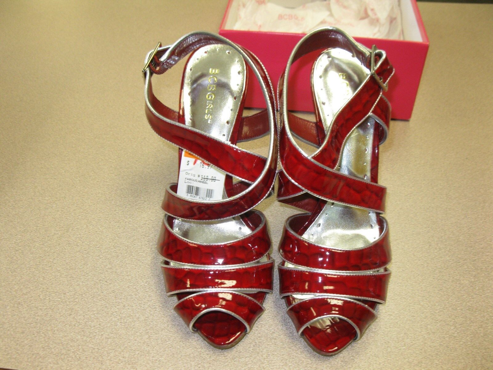 BCBGirls FAMOUS RED Silver Bold Croc glass Met Strappy Strappy Strappy Stilletto Womens 10M 1434d5