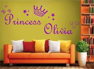 100% De Qualité 05 Big Personnalisé Fille Princesse Votre Nom Autocollant Mural 6 Tailles Beaucoup De Couleurs-afficher Le Titre D'origine