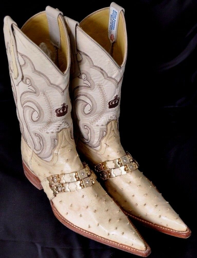 Custom Beige Ostrich Leather Cowboy Boots Gold Hrdwr US 5 1/2 Pointed Toe Mexico