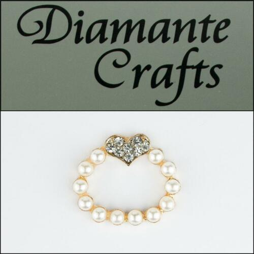 3D Ring Pearl with Heart Gold Alloy Encrusted Clear Diamante Cabochon 2013R