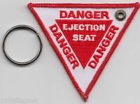 RAF Royal Air Force Danger Ejection Seat Embroidered Key Ring / Pull Cord