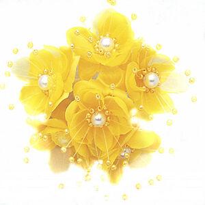 gold 36 Wedding Bridal Pearl Satin Organza Flower Favor Pick
