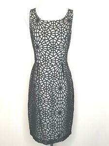 Basque-Black-Sheer-Sheath-Pencil-Sleeveless-Office-Career-Dress-Size-10