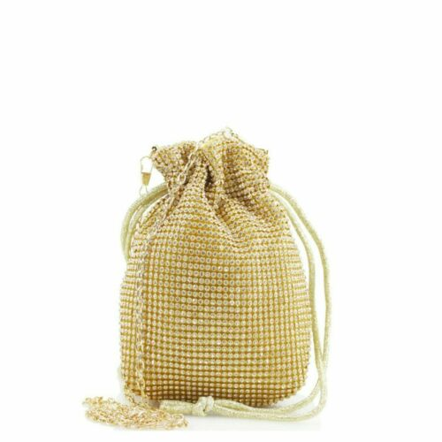 Ladies Diamante Pouch Bag Womens Evening Bridal Wedding Shoulder Handbag New UK