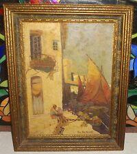 c 1925-1935 Oil Painting Alice Alin Hanson Italy? Spain? California Mission?