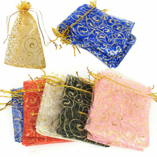 Wholesale Multicolor Wedding Party Organza Candy Bags Jewelry Gift Decor Pouches