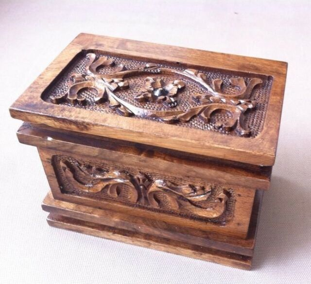 SMALL Magic Puzzle Wooden Jewel Box Bouquet Pandora's Case Secret Key N0:2