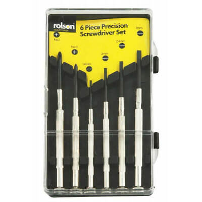 Rolson 6 Piece Precision Screwdriver Set Slotted /& Cross Point with Swivel Tops