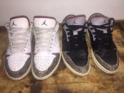 30fe8cd417d 2 Pair Nike Air Jordan 1 Phat Low Size 10 B & W Cement 350571-061 ...