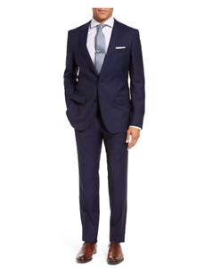 Hugo Boss Mens Reda Super 110 Huge Genius Trim Fit Navy Wool Suit US 40L
