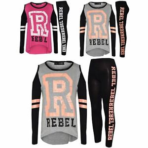 Girls Tops Kids Just Get Over It Baseball T Shirt Top /& Legging Set 7-13 Years