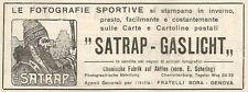 W7597 Fotografie sportive SATRAP-GASLICHT - Pubblicità del 1909 - Old advert