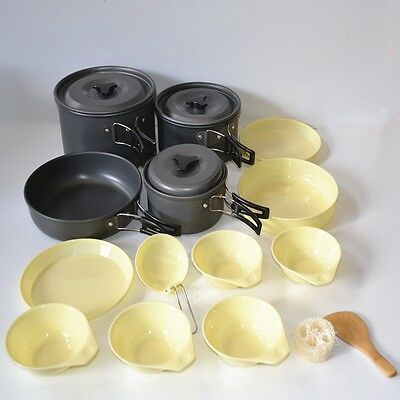 @New 14 in1 Outdoor Camping Hiking Cooking Pot Utensils Set  (DS-500)