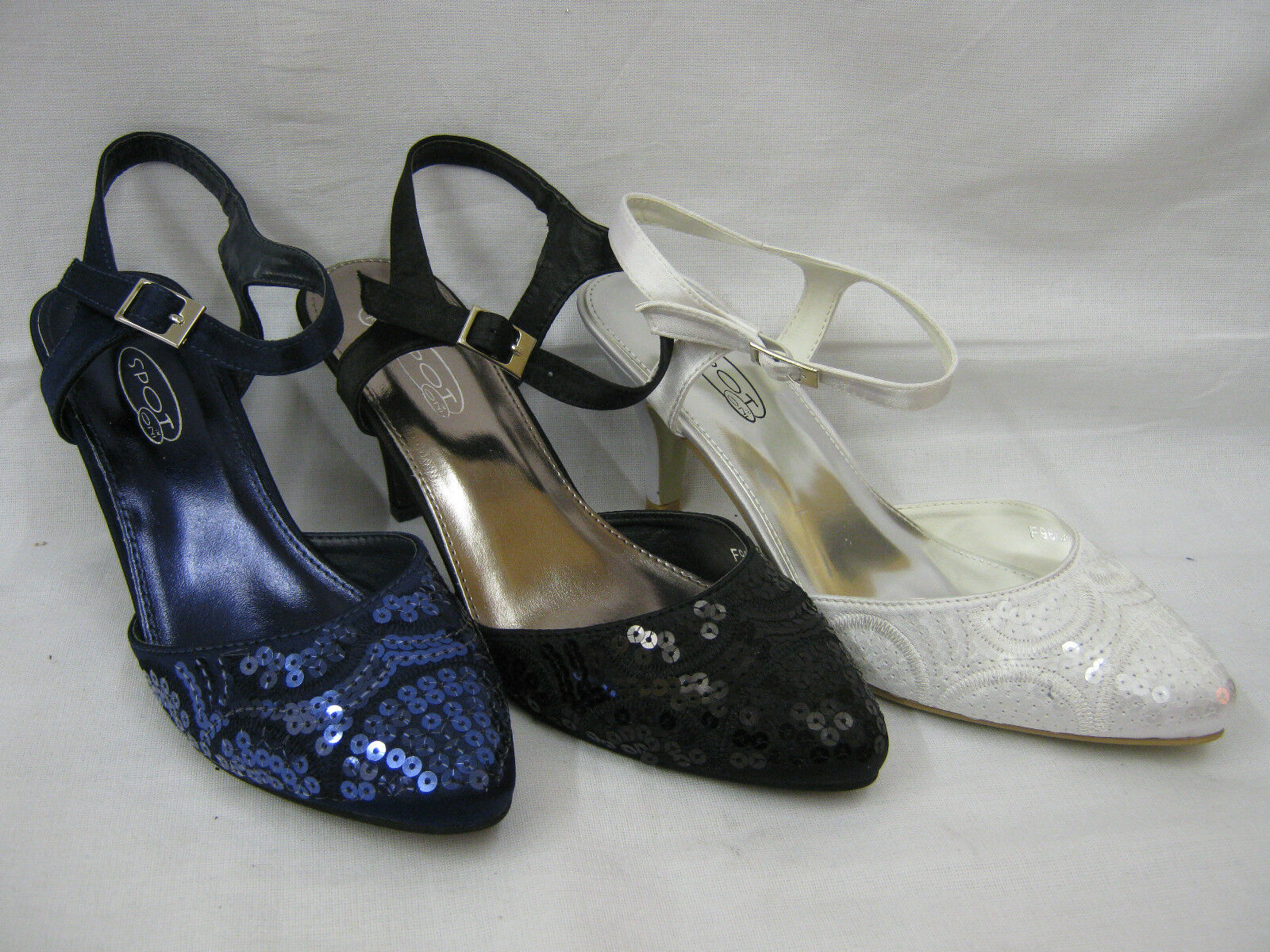 Ladies Satin Ankle Strap Court Shoes with Sequin Trim 9664