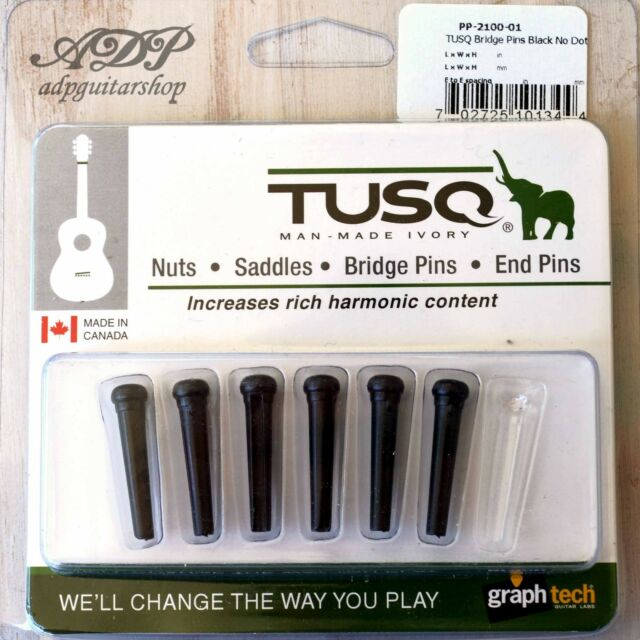 6  Chevilles Tusq PP-2100-01 Noir Graph Tech Acoustic Guitar Bridge Pins Black