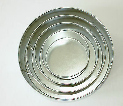 "Round Shaped Quality Professional Baking Tins, Set of 4 Sizes: 6"", 8"", 10"", 12"""