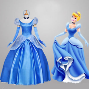 Adult Gorgeous Princess Cinderella Costume Cosplay Stage Fancy Dress Tutu Party