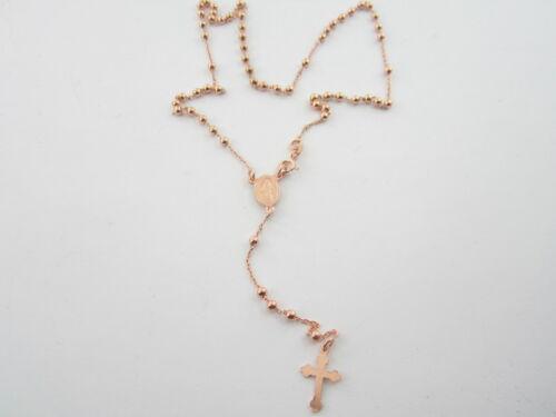 1 collana rosario in argento 925 placcato oro rosè