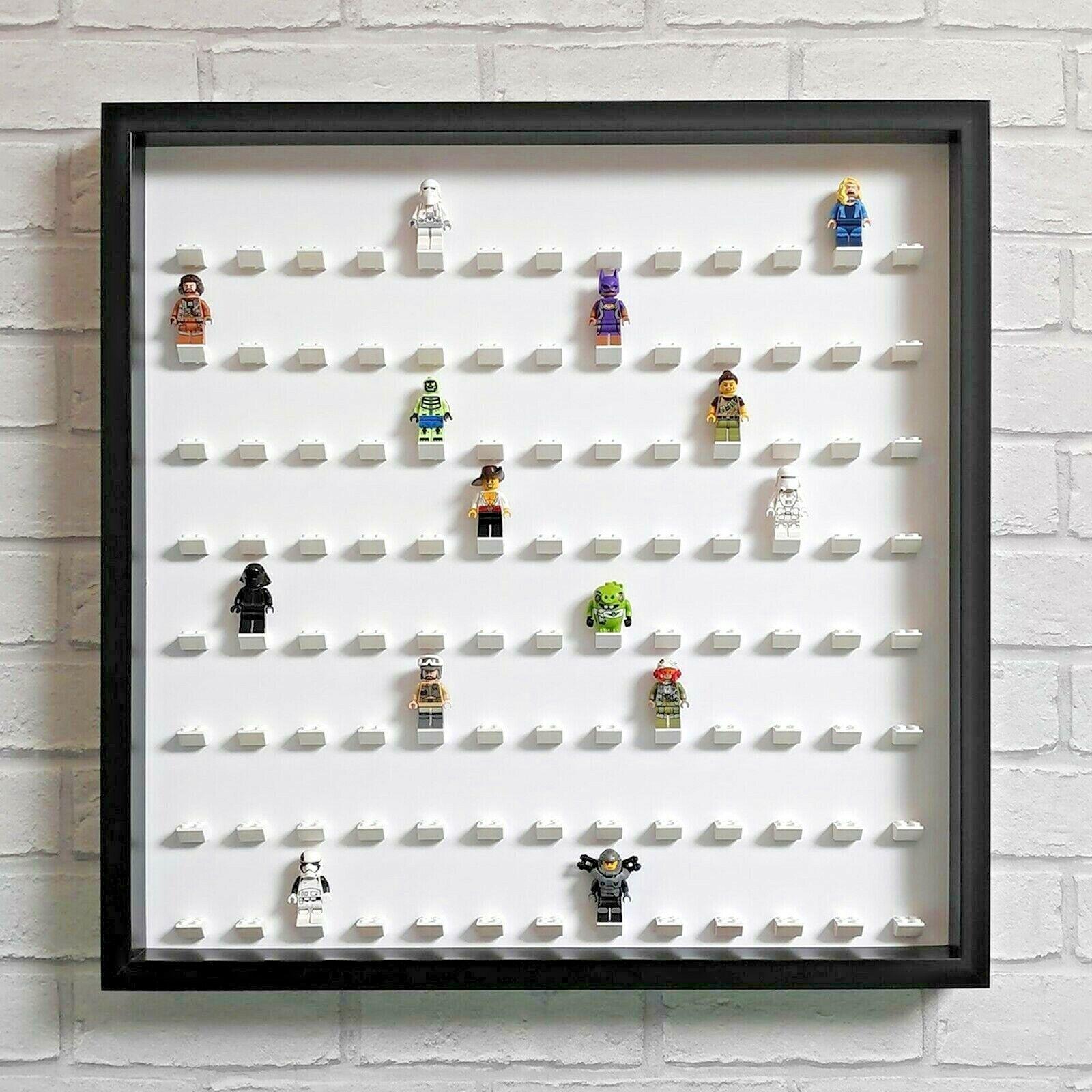 LEGO Figurine Display Frame Case grand-s' adapte 104  Minifigs-Noir (Blanc)  articles de nouveauté