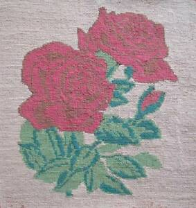 """VINTAGE COMPLETED ROSES NEEDLEPOINT FLOWERS 14""""x15"""""""