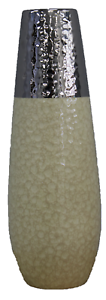 36cm-Tall-Crackled-Cream-amp-Hammered-Silver-Decor-Vase-Ceramic-Flower-Vase