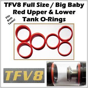 6 Tfv8 Full Size Big Baby Red Tank Set Orings Oring O