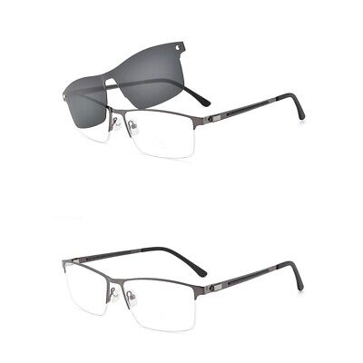 Mens Magnetic Clip-on Polarized Sunglasses Half Rimless Eyeglass Frame Business