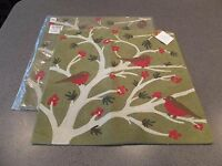 Pottery Barn Green Branch Bird Crewel Embroidered Pillow Cover 18 Christmas