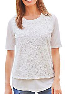 UK-Plus-Sizes-28-38-EU-54-64-Ladies-Ivory-White-Short-Sleeve-Lace-Top
