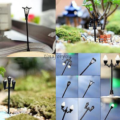 Black Streetlights Miniature Dollhouse Garden Fairy DIY Plant Flower Pot Decor
