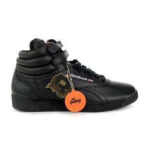 Reebok Women's Freestyle Hi Pump All Black Shoes V63001 NEW!