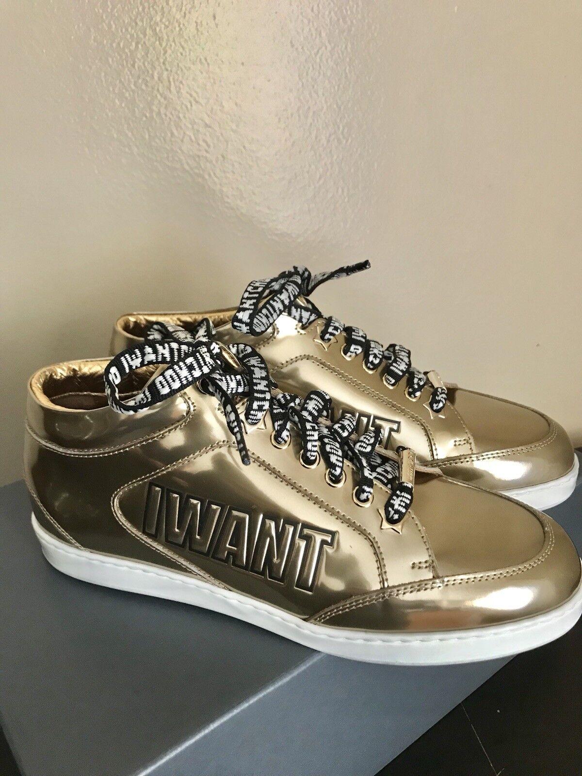 Brand New Jimmy Choo Miami Miami Miami Logo Mettalic Woman's Leather Sneaker 100% Authentic e55174