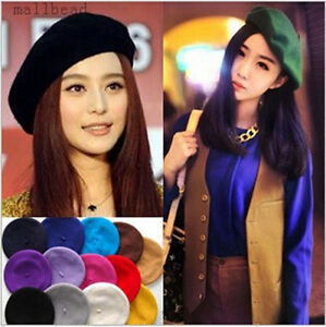 New-Fashion-Women-100-Wool-Warm-Felt-French-Beret-Beanie-Hat-Cap-Tam-12-colors