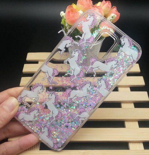 on sale 7208c fbb19 for Samsung Galaxy S5 - Hard Case Flowing Waterfall Unicorn Liquid Glitter  Heart