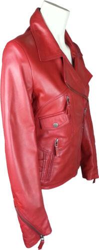 UNICORN Womens Fashion Biker Style Real Leather Jacket Waxed Red #GB