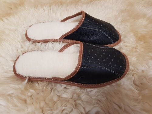 pelle Size Bw 8 Wool uomo 9 7 11 Warm montone Pantofole 6 12 Leather in Shoes di 10 Mule qE1vU