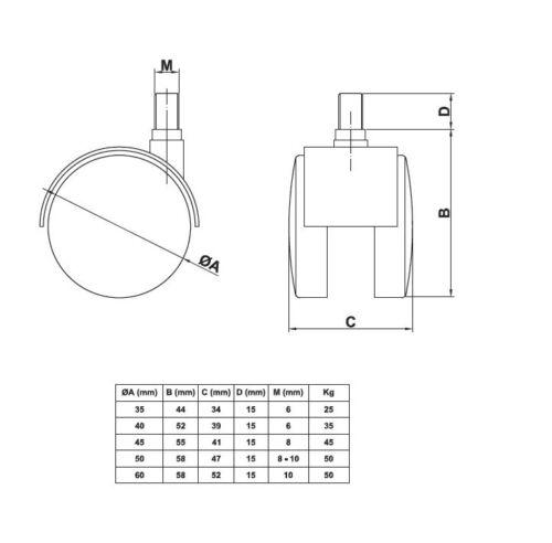 4er set duro suelo roles Ø 50mm de plástico negro muebles roles con lápiz de rosca