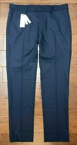Lacoste HH1622 $150 Men's Slim Fit Stretch Wool Blend Navy Dress Pants 40 EU 50