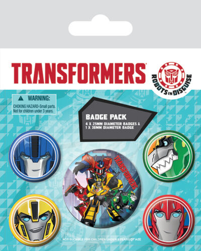 Transformers Robots In Disguise PACK OF 5 BADGES BY PYRAMID BP80581