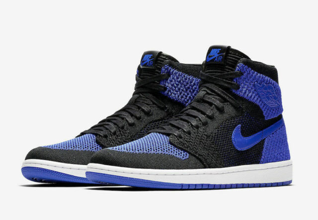 new concept 92423 d7bb8 Mens Air Jordan 1 Retro HI Flyknit 919704-006 Black Game Royal NEW Size