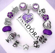 Authentic Pandora Sterling Silver Bracelet with Love Purple European Charms