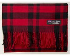 100% Cashmere Scarf Red Black Tartan Flannel Check Plaid Scotland Wool R918