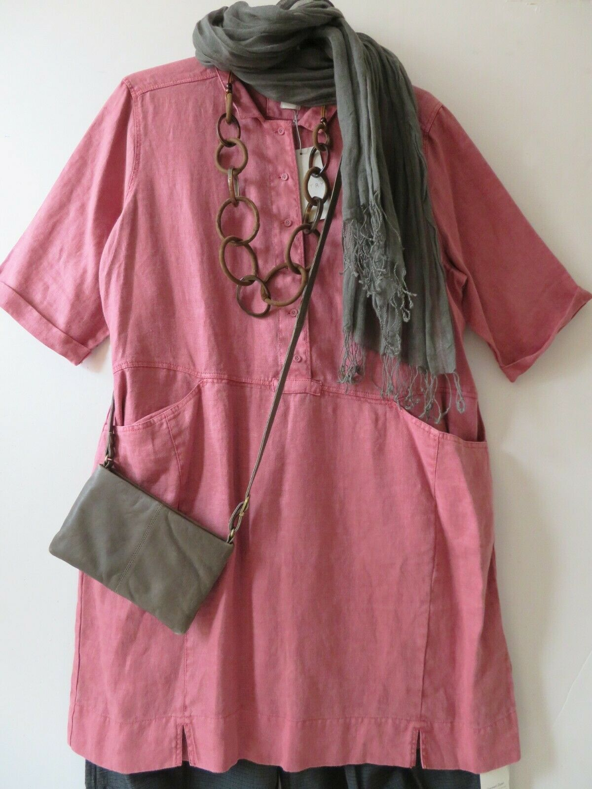 RRP  POETRY, 22 UK, OVERGrößeD Dusty Rosa 100% Linen Tunic Two Front Pockets
