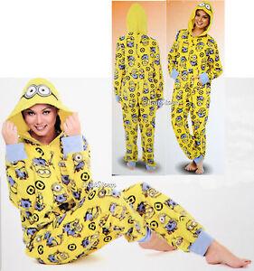 5934ba5bd NEW MINION DESPICABLE ME ADULT 1PC Costume PJS Fleece Hooded NON ...