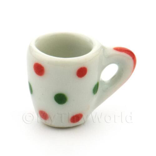 3x Casa de Muñecas en Miniatura Dotty Diseño De Cerámica Tazas de sopa